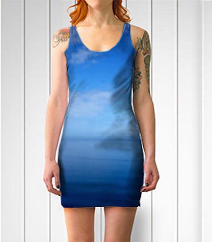 Where Water Meets Sky Fitted Bodycon Dress