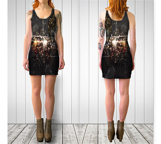 Urban Reflection Fitted Dress - Tru-Artwear.ca