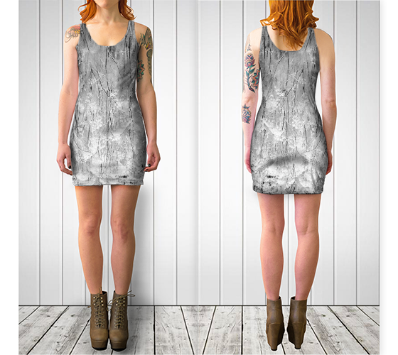 Frosted Ornamentals Fitted Dress - Trū Canadian ArtWear by Nadia Bonello