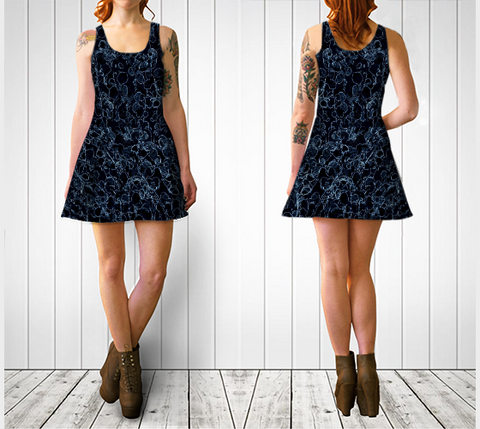 Black and Blue Vine Flare Dress - Tru-Artwear.ca