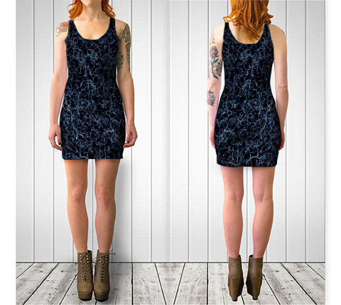 Black and Blue Vine Fitted Dress - Tru-Artwear.ca