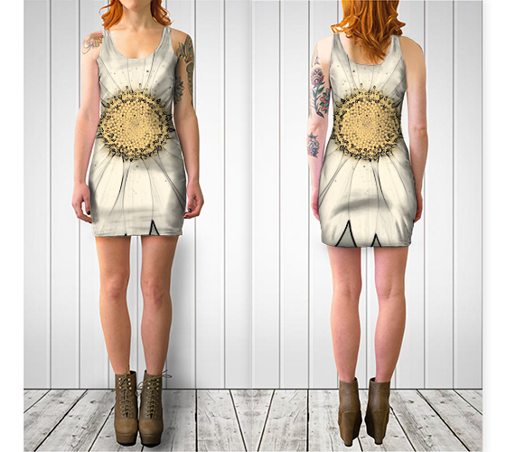 White Daisy Fitted Dress - Tru-Artwear.ca