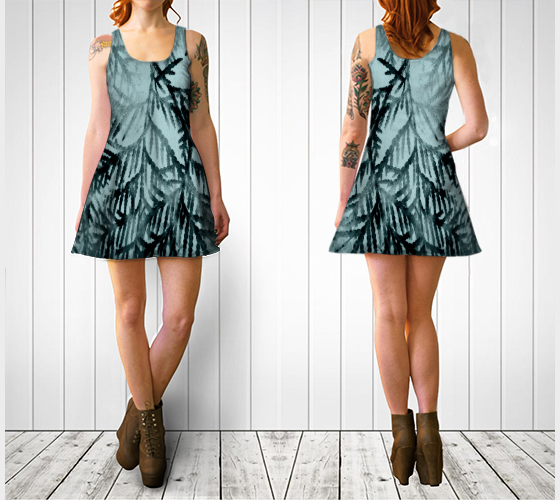 'Just Beyond the Trees' Flare Dress - Tru-Artwear.ca