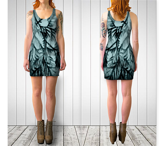 Just Beyond the Trees Fitted Dress - Tru-Artwear.ca