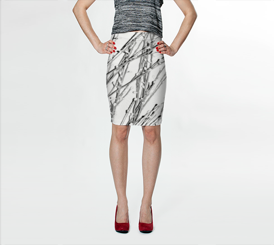 White Pearl Grass Fitted Skirt - Tru-Artwear.ca
