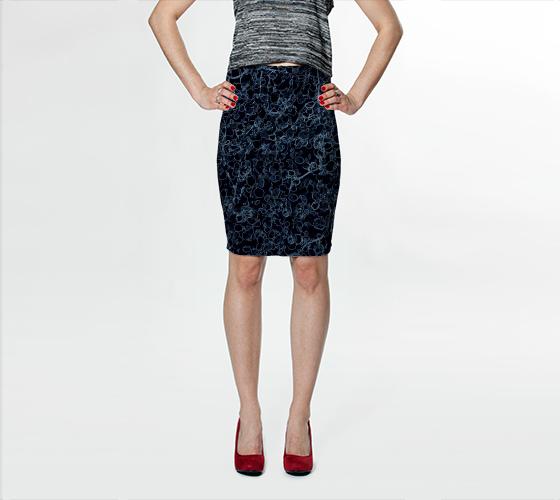 Black and Blue Vine Fitted Skirt - Trū Canadian ArtWear by Nadia Bonello