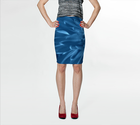 Blue Chrysanthemum Fitted Skirt - Trū Canadian ArtWear by Nadia Bonello