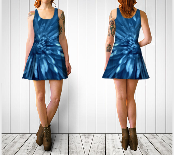 Blue Chrysanthemum Flare Dress - Tru-Artwear.ca