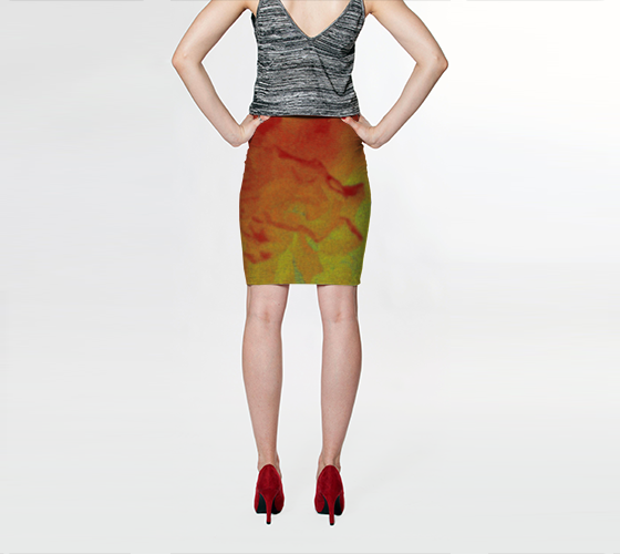 Abstract Flower Fitted Skirt - Tru-Artwear.ca