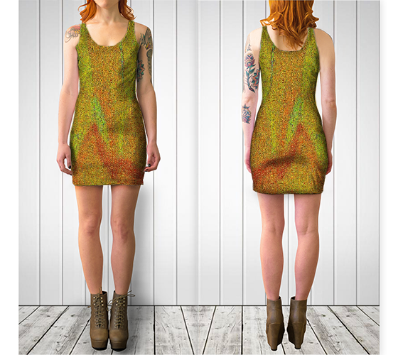 Abstract Flower Fitted Dress - Tru-Artwear.ca