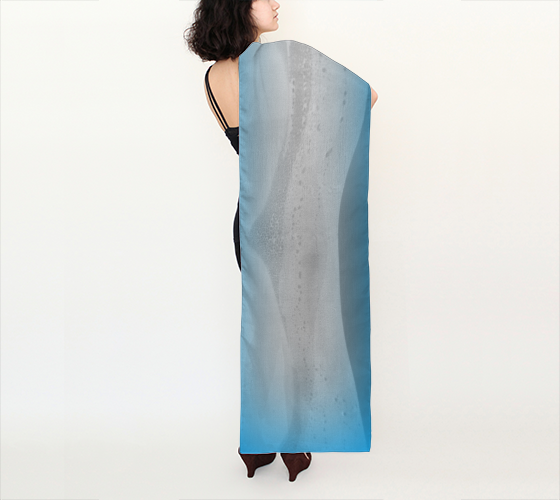 "Shawls | Limited Edition | Made to Order: Blue Mountain No.2 Long Scarf (16"" x 72"") - Tru-Artwear.ca"