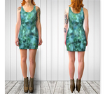 Green + Blue Horizontal Pixelate Fitted Dress - Tru-Artwear.ca