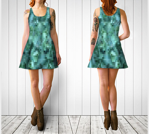 Green + Blue Horizontal Pixelate Flare Dress - Tru-Artwear.ca