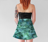 Green + Blue Horizontal Pixelate Flare Skirt - Tru-Artwear.ca