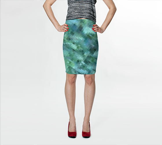 Green + Blue Pixelate Diagonal Fitted Skirt No.2 - Tru-Artwear.ca
