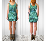 Green + Blue Diagonal Pixelate Fitted Dress No.2 - Tru-Artwear.ca