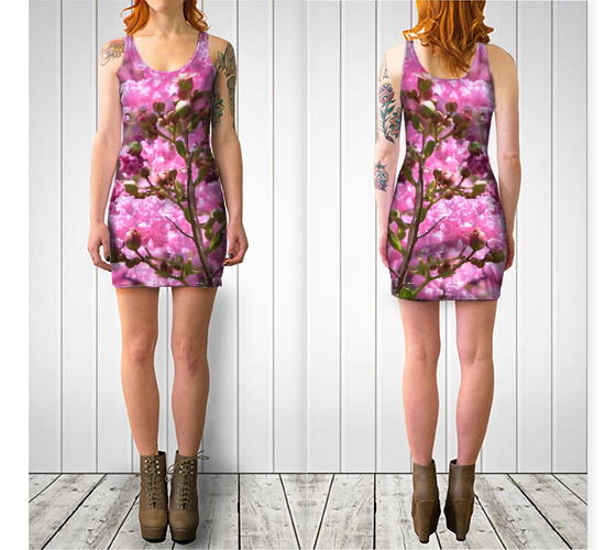 'Pink Blossoms' Fitted Dress - Tru-Artwear.ca
