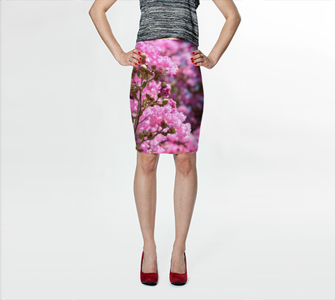 Pink Blossoms Fitted Skirt - Tru-Artwear.ca