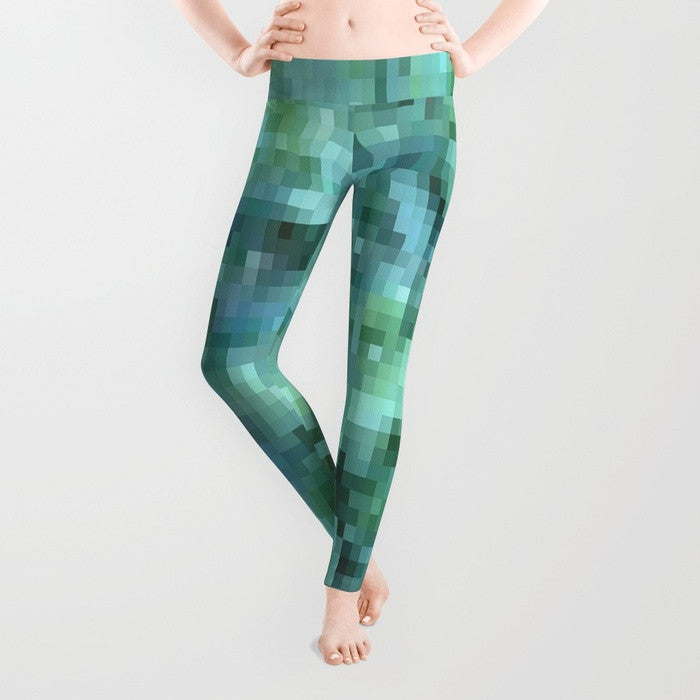 1 UYL - 'Blue Green' Yoga Leggings *** - Tru-Artwear.ca