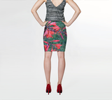 Red Trumpet Vine Fitted Skirt - Tru-Artwear.ca
