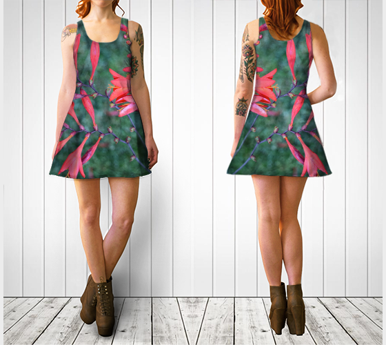 Red Trumpet Vine Flare Dress - Tru-Artwear.ca