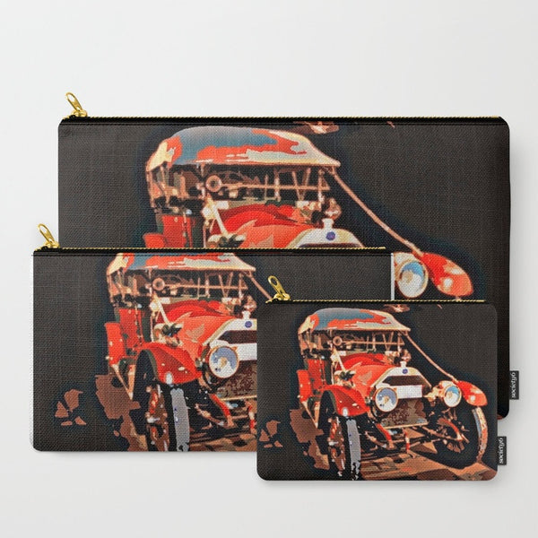 His or Her Travel Set | 'Antique Red Car' Travel Pouch Set | Car Enthusiasts Set - Tru-Artwear.ca
