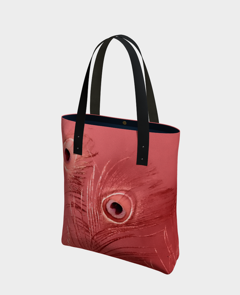 """1 - Red Feathers"" Urban Tote - Tru-Artwear.ca"