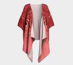Red Feathers Draped Kimono Cardigan