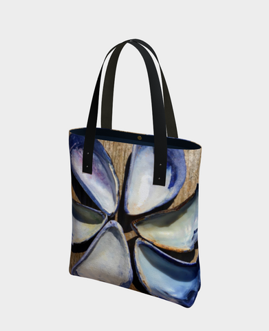 Blue Seashells Urban Canvas Tote - Tru-Artwear.ca