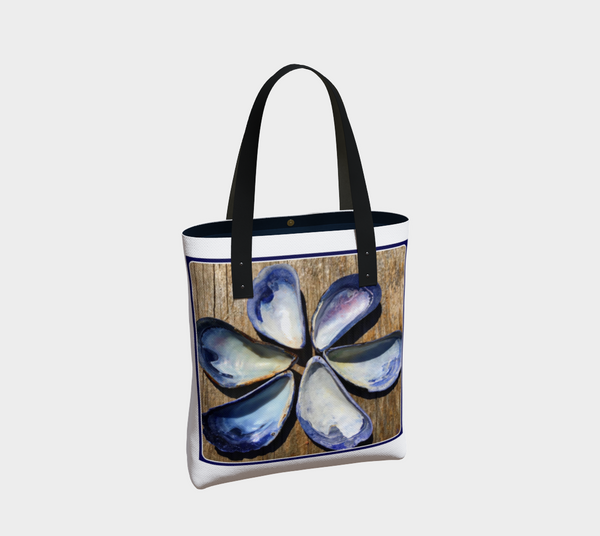 Blue Seashells Flower Urban Canvas Tote - Tru-Artwear.ca