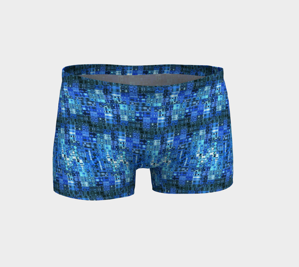 2 - Blue Mosaic Shorts | Workout & Running Shorts | Yoga - Tru-Artwear.ca