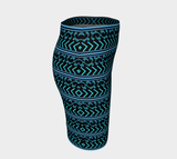 Black and Blue Turquoise Fitted Skirt - Tru-Artwear.ca