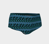 Turquoise and Black Patterned Tankini Bottoms