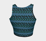 Turquoise and Black Patterned Tankini Top