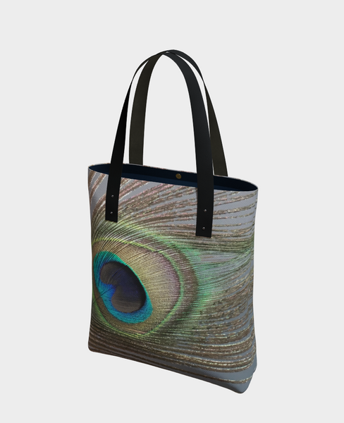 """1 - Peacock Feather No.2"" Urban Tote - Tru-Artwear.ca"
