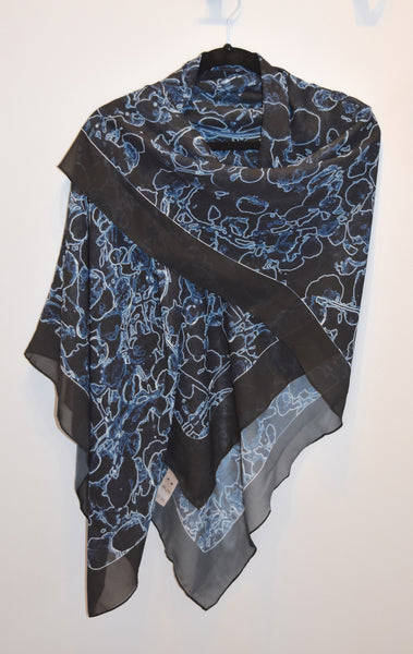 Scarves | Beach Cover-ups | Limited Edition: 'Black and Blue Vine' Fashion Scarf - Tru-Artwear.ca