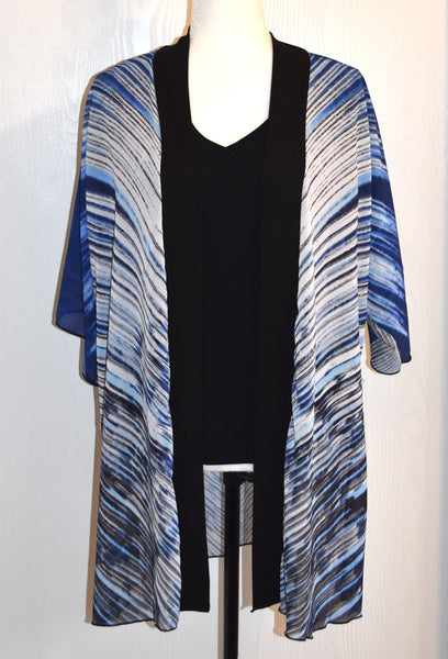 1. Blue and White Feather Chiffon Kimono Robe - Tru-Artwear.ca
