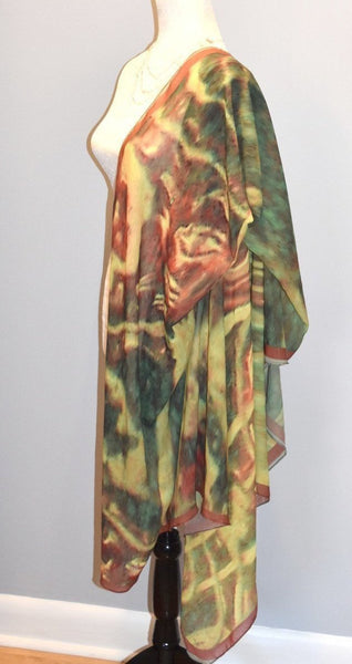 '1. Green Red Water Abstract' Fashion Scarf - Tru-Artwear.ca