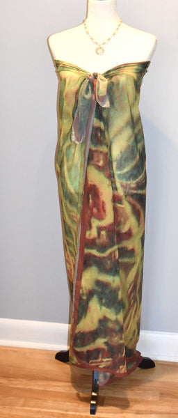 '1. Green Red Water Abstract' Fashion Scarf