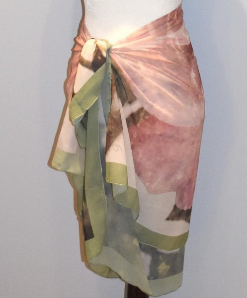 '1. Scarves | Beach Cover-ups | Limited Edition: 'Pink Vintage Rose' Fashion Scarf - Tru-Artwear.ca