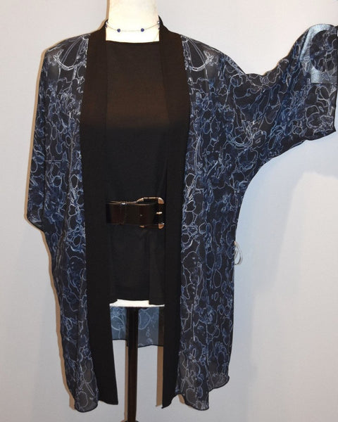1. Black and Blue Vine Chiffon Kimono Robe |  Loungewear | Beachwear | Lingerie Robe - Tru-Artwear.ca