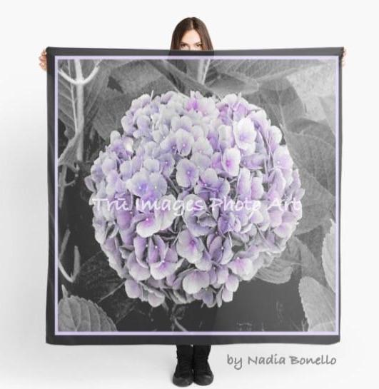 Beach Scarf Cover-ups | Limited Edition: 'Purple Hydrangea' Fashion Scarf - Tru-Artwear.ca