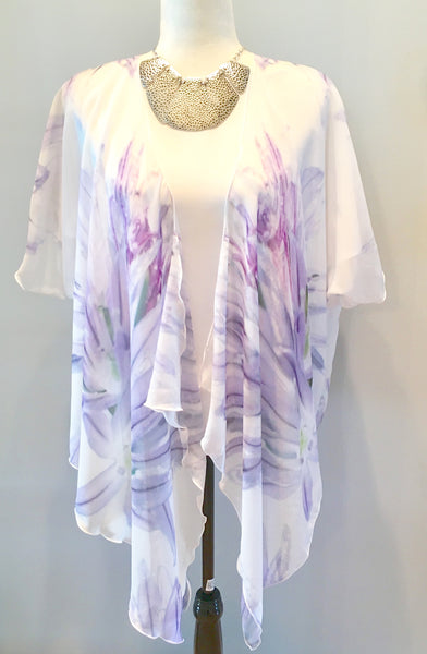 1. 'Lavender Chive on White' Draped Kimono Cardigan - Tru-Artwear.ca