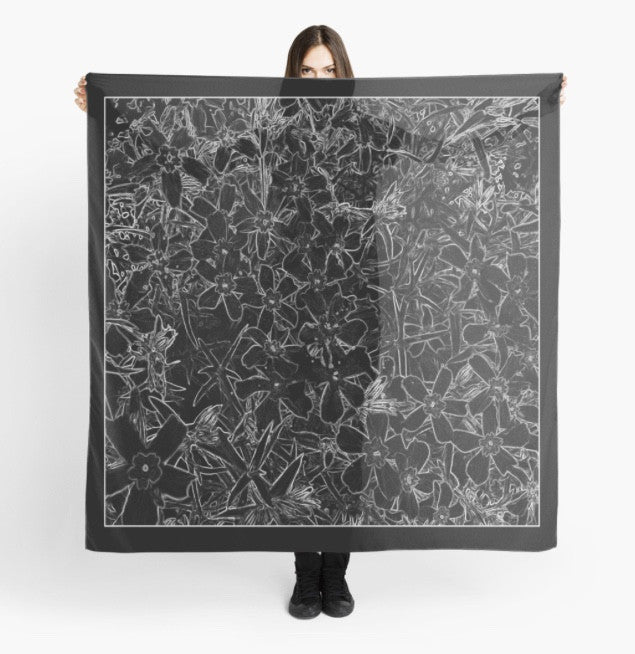 Beach Coverup | Limited Edition: 'Black Flox' Fashion Scarf - Tru-Artwear.ca