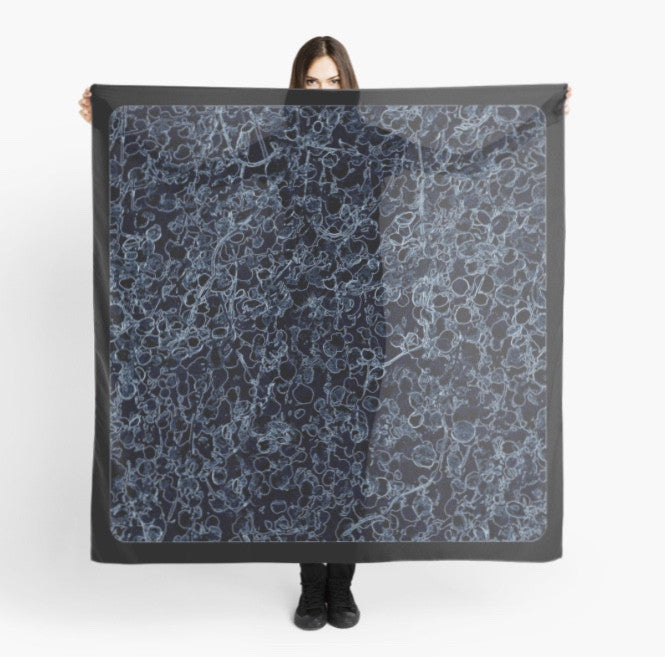 Beach Coverup | Limited Edition: 'Black and Blue Vine' Travel Scarf - Tru-Artwear.ca