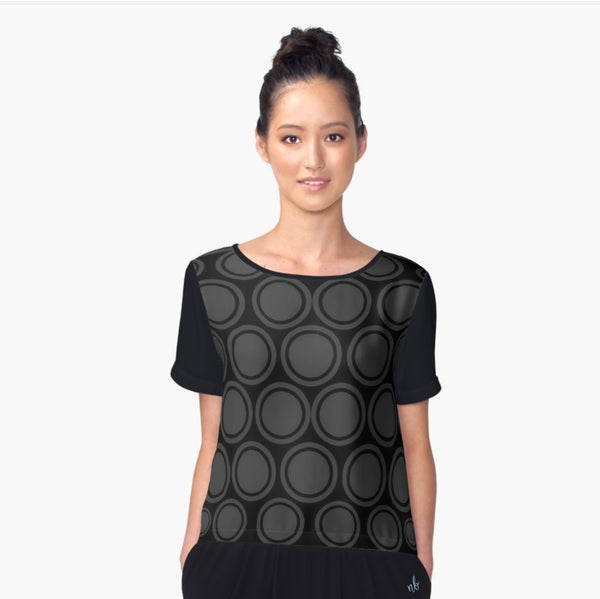 Black and Grey Circles Chiffon Top - Tru-Artwear.ca