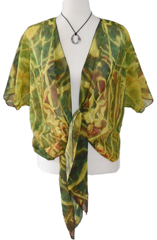 'Green Red Water' Draped Kimono Cardigan - Tru-Artwear.ca