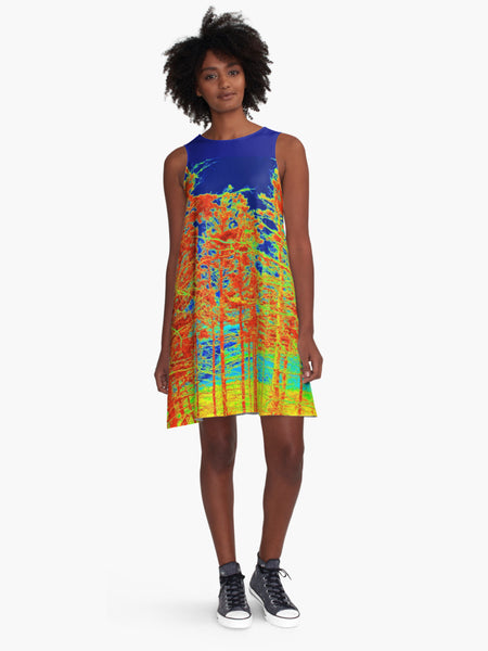 'Red Trees Canada' A-Line Limited Edition Summer Dress - Tru-Artwear.ca
