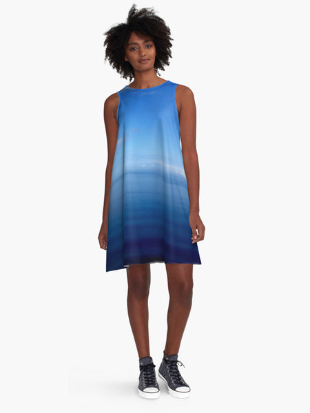 'Where Water Meets Sky' A-Line Limited Edition Summer Dress - Tru-Artwear.ca
