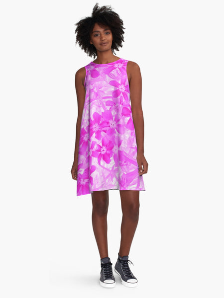 'Pink Flox' A-Line Limited Edition Summer Dress* - Tru-Artwear.ca
